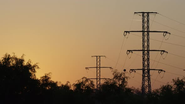 Power poles with power cables