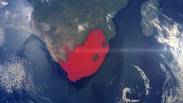 Thumbnail for Realistic Earth Zoom Red Alert Highlight Country South Africa