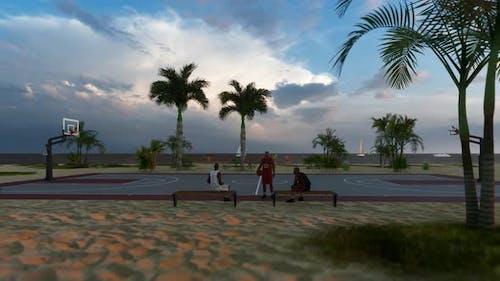 Basketballplatz am Strand
