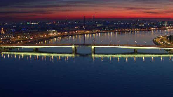 Thumbnail for Flying Over The Bridge Over The Neva River In St. Petersburg