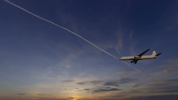 4K Plane Takes Off At Sunset