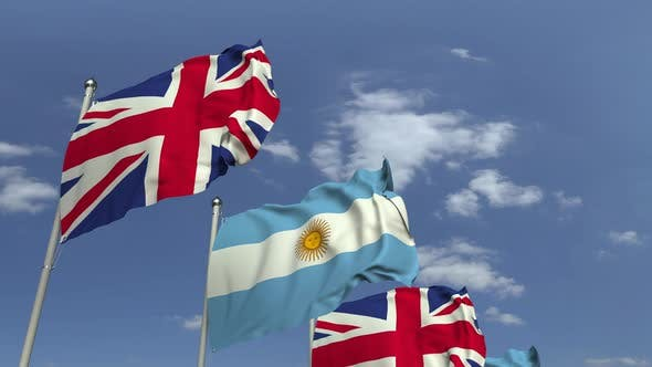 Thumbnail for Row of Waving Flags of Argentina and the United Kingdom