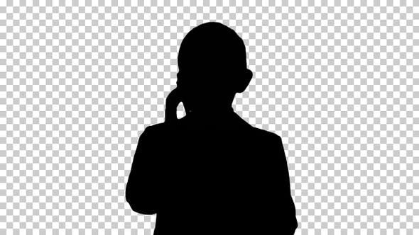 Thumbnail for Silhouette Cute little boy talking on his smartphone and