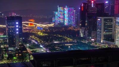 Timelapse Illuminated Futian with Shenzhen Architecture