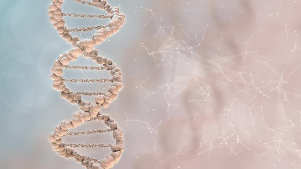Beige Background for Scientific Medical Research Presentation with Dna Helix