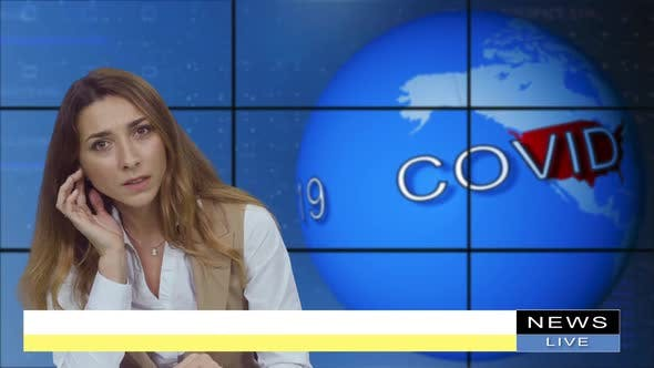 Thumbnail for Female Anchorwoman, News Presenter Talking About Covid-19 in Broadcasting Studio