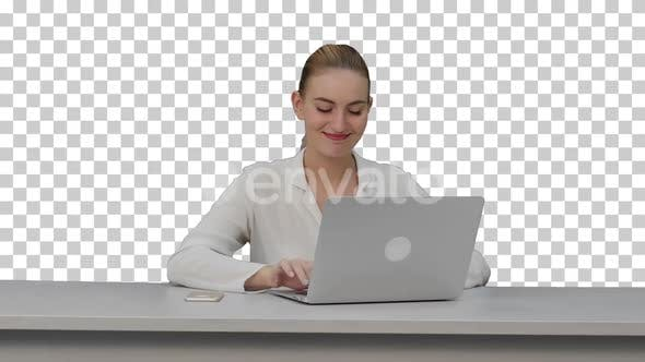 Happy businesswoman enjoy working on laptop, Alpha Channel