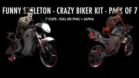 Funny Skeleton - Crazy Biker - Pack of 7