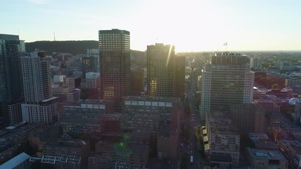 Thumbnail for Aerial of Downtown Montreal, in the evening