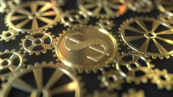 Dollar Symbol on a Golden Gear or Cogwheel