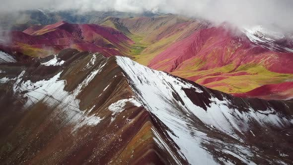 Thumbnail for Aerial panoramic view of  colourful Vinicunca, Rainbow Mountain, Peru.