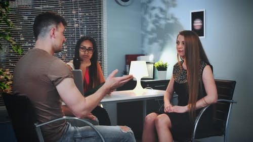 Man and Woman with Communication Problem Clarifying Their Relationship in Psychologist's Office
