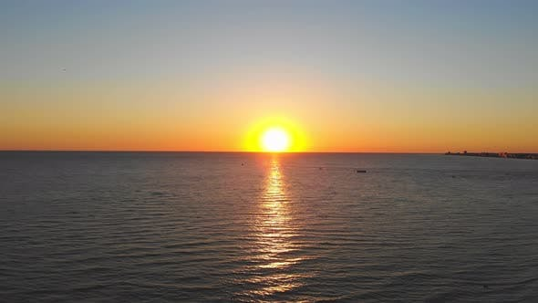 Beautiful Sunset Over the Sea. The Sun Is Reflected in the Water. Fabulous Sunset Landscape By the