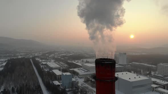 GLOBAL WARMING Pipes Pollute Industry Atmosphere With Smoke Ecology Pollution