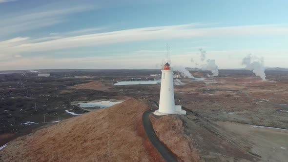 Thumbnail for Aerial View of the Lighthouse at Reykjanes Peninsula During Sunset. Iceland in Early Spring