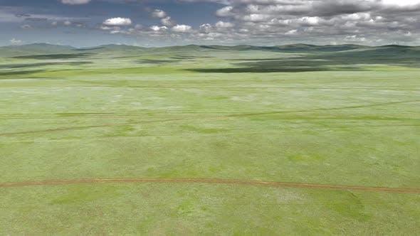 Vast Empty Meadow of Central Asian Plain