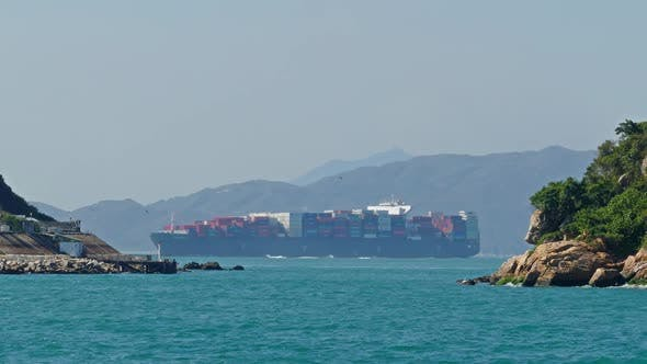Thumbnail for Large Container Ship in the Harbor of Hong Kong