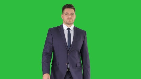 Thumbnail for Businessman walking isolated on a Green Screen, Chroma Key.