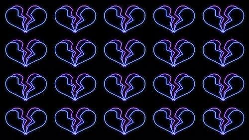 Repeated Neon Breaking Heart Animation Loop