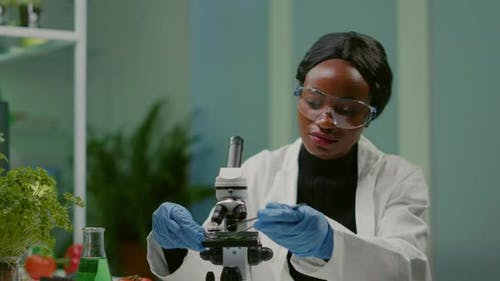 Portrait of Scientist Taking Leaf Sample with Micropipette Putting on Slide