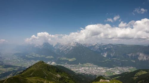 4k time lapse of clouds, panoramic mountain view in the alps