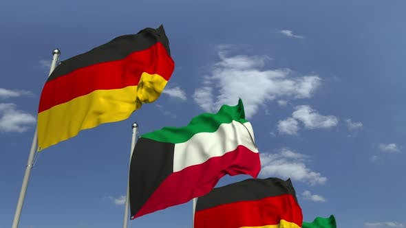 Thumbnail for Flags of Kuwait and Germany at International Meeting