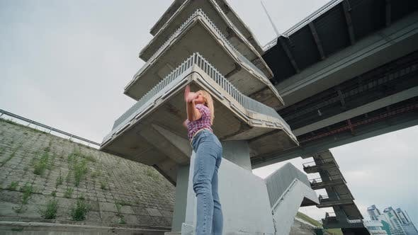 Cover Image for Girl Dancing Energetically, Urban Style