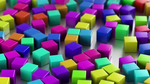 Abstract Colorful Cubes With Depth Of Field