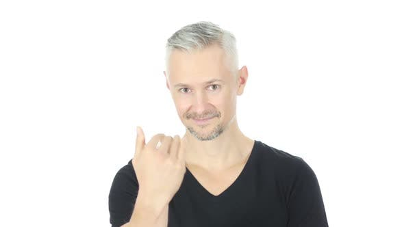 Thumbnail for Join Us, Inviting Gesture by Middle Aged Man, White