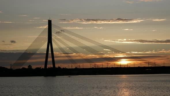 Thumbnail for Vansu Bridge during sunset in Riga Latvia