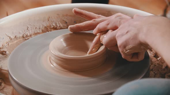 Thumbnail for Pottery - the Master Is Unfolding Clay with His Finger