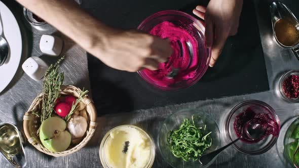 Thumbnail for Cook Stirring Potato and Beetroot Mash