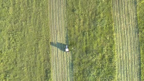 Mower with Rotary Cutters Drive Along Farmland in Summer