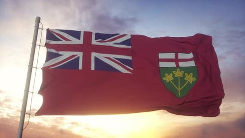 Ontario Flag Canada Waving in the Wind Sky and Sun Background
