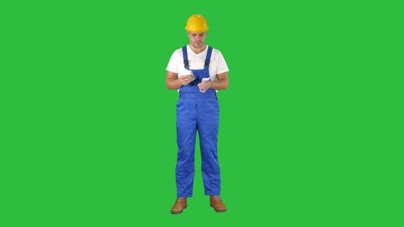 Thumbnail for A workman excitedly counting his salary on a Green Screen