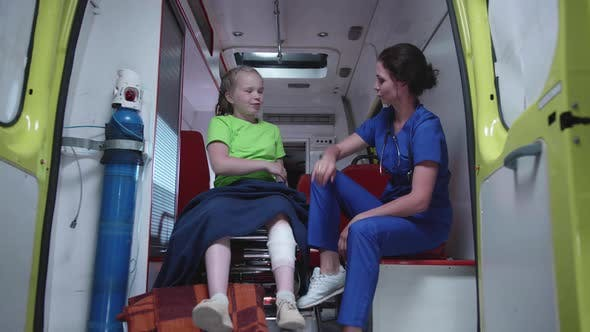 Thumbnail for Nurse and Sick Girl in Ambulance Car.