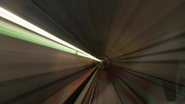 Timelapse of Moving Through Subway Tunnels