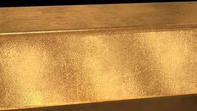3D Gold Bar Macro in Black Background