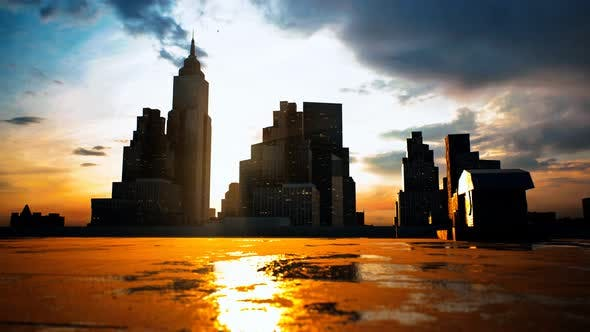 Skyscrapers of Big City at Sunset