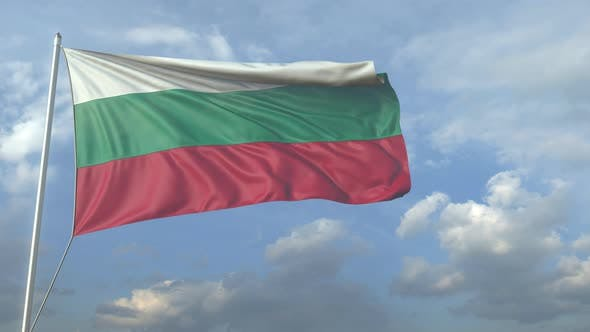Airliner Flying Over Waving Flag of Bulgaria