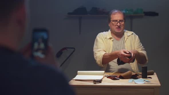 Thumbnail for Shooting a Work of a Shoemaker. Mobile Video