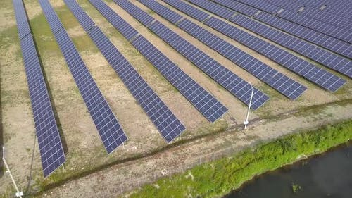 Aerial view of solar power plant, Electric panels for producing clean ecologic energy