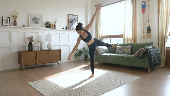 Thumbnail for A young Indian Woman Meditates in the Morning, She Does exercises for Balance And Stretching