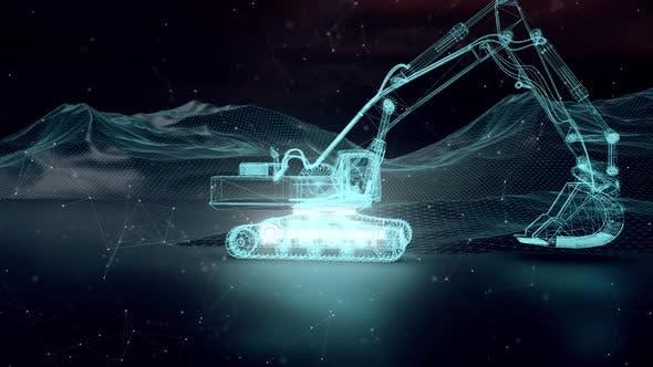 Industrial Excavator Digger In Cyber Digital Working Area 4k
