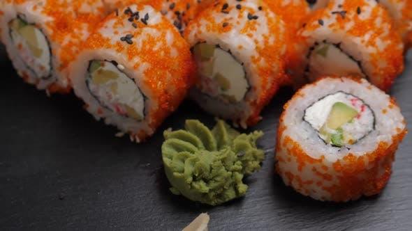 Thumbnail for Sushi Roll California on Black Slate Plate