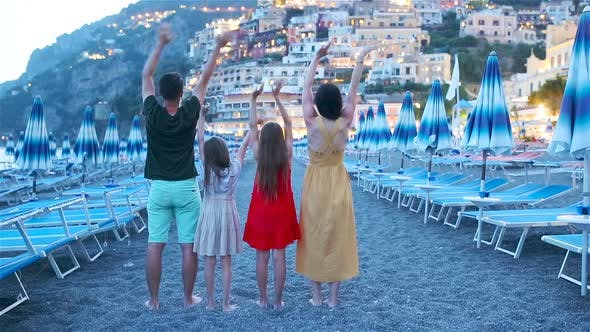 Thumbnail for Family in Front of Positano on the Amalfi Coast in Italy in Sunset