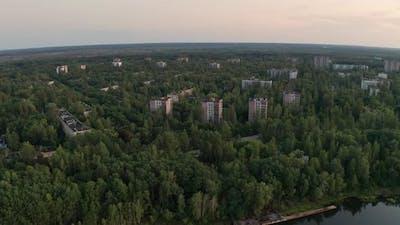 Drone Shot of Pripyat Town Near River