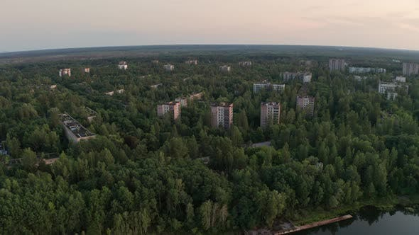 Drone Shot of Pripyat Town Near River