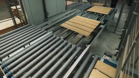 Thumbnail for Wooden Boards are Processing at the Automated line of Plant for the Parquet Manufacturing