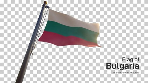 Bulgaria Flag on a Flagpole with Alpha-Channel